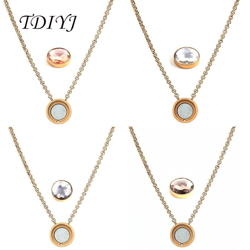 Collar TDIYJ de acero inoxidable a la moda My Coin con cúpula magnética intercambiable, colgante de cristal como regalo para mujeres, 1 Uds.