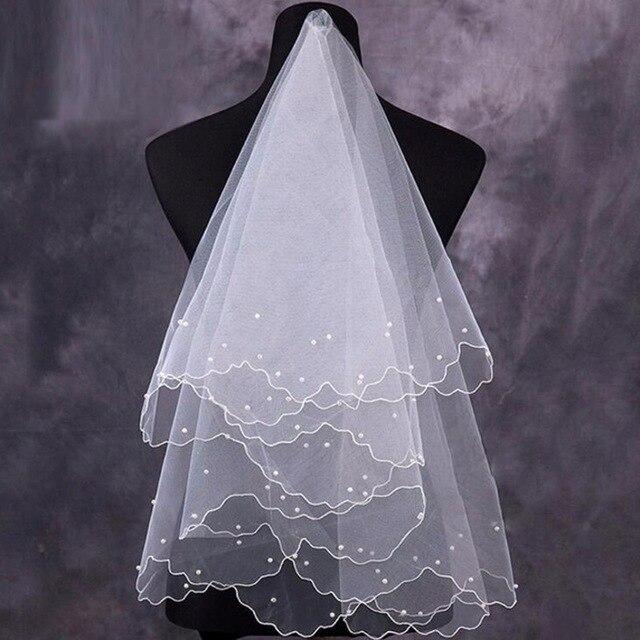 Mulheres pérola véu de noiva vestido de noiva véu camadas tule borda fita acessórios de casamento 2019