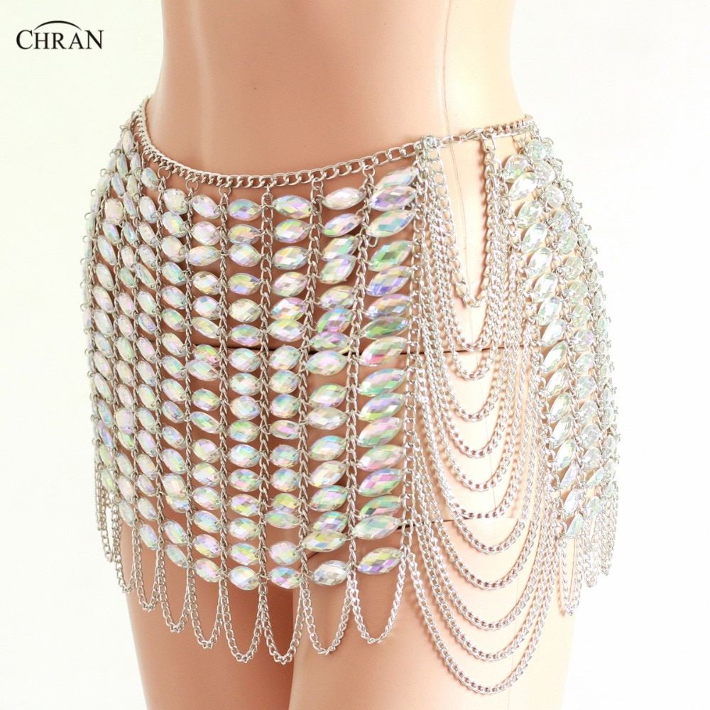Chran Silver Gem Stone Skirt Belly Dancer Waist Belt Chain Harness Necklace Bra Bralete Festival Dress Wear Ibiza Jewelry CRS409