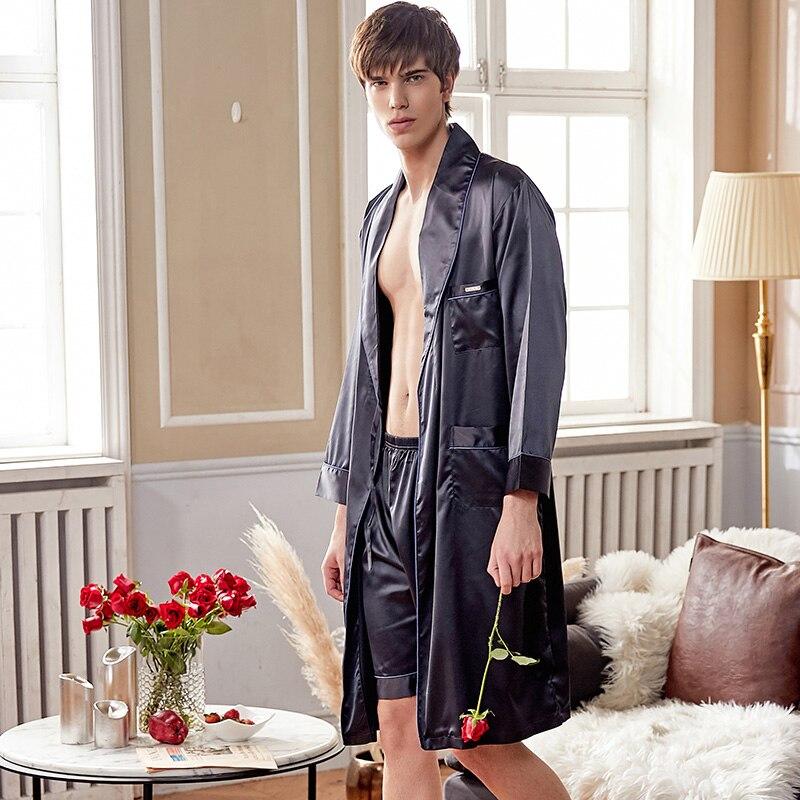 Xifenni шелк халат комплекты мужские высокие качество искусственный шелк одежда для сна мужские однотонные цвет шелковистые халаты шорты комплекты 2 предмета X28240