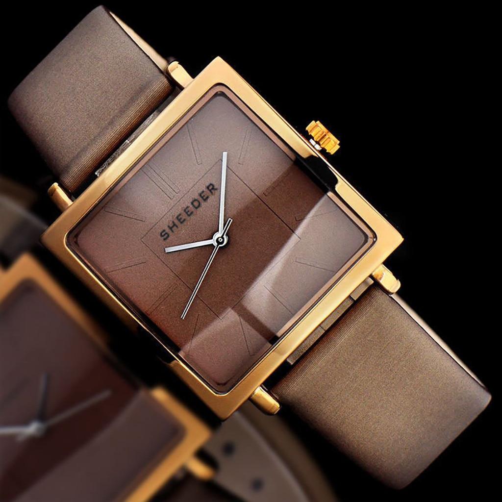 Reloj de lujo Womem, marca famosa, Correa estampada Simple a la moda sin esfera cuadrada Digital, reloj de cuarzo para mujer Bayanlar izle LD
