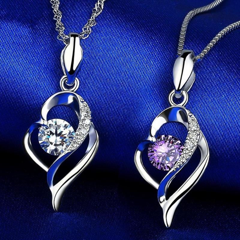 Collar Everoyal con colgante de corazón de cristal para niñas, joyería Vintage de plata 925, collar de clavícula de mujer, accesorios femeninos