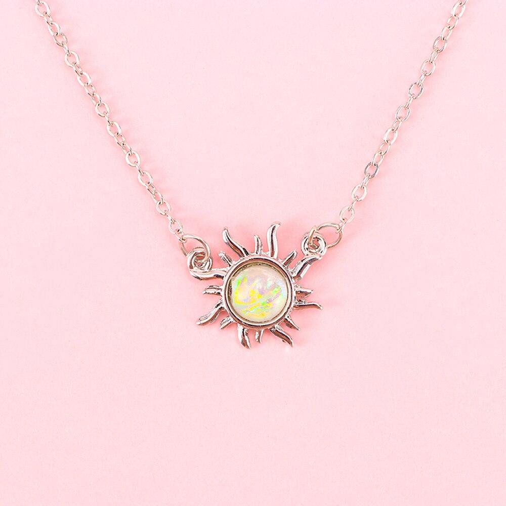 Collar gargantilla femenino de ópalo de flor de sol de Color dorado y plateado 1 Uds., cadena de clavícula para disparar en la calle, conmemoración de viajes y bodas