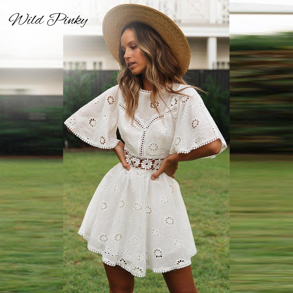 مضيئة كم القطن الأبيض الدانتيل فستان المرأة فستان السيدات عادية الصيف عالية الخصر فستان قصير عارية الذراعين vestidos الجوف خارج فستان