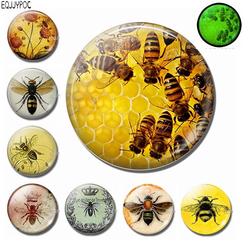 30 MM Honeybee imán de nevera decoración 3d abeja Animal cúpula de vidrio extraíble brillante por la noche decorativo refrigerador pegatinas magnéticas