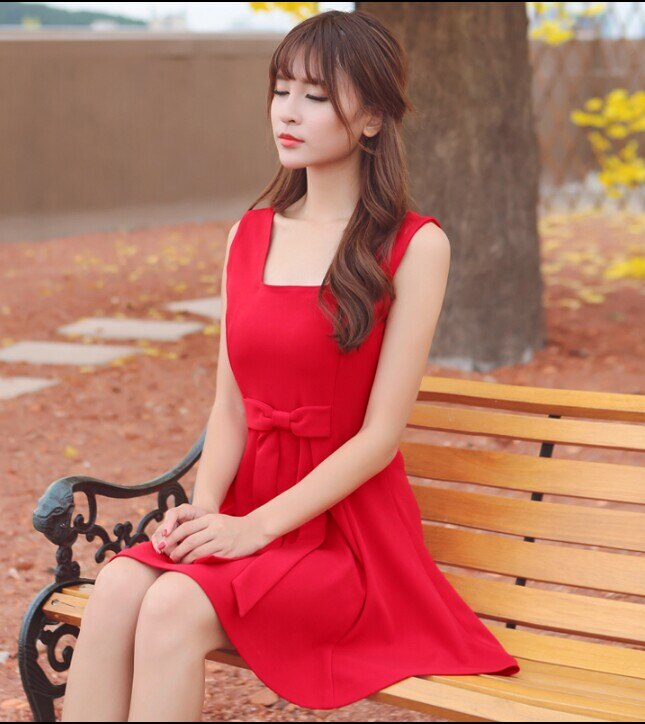 Moda mujer sin mangas Blanco/negro/rojo Mini Vestido corto Vintage Slim Sundress de dos vías Bowknot Front o Back Lolita vestido