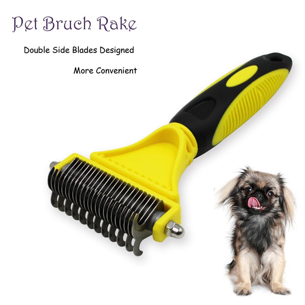 Double Side Dog Brush Comb Dematting Matbreaker Cat Rake Deshedding Trimmer Pet Animal Grooming Fur Shaver Tool 11/23 Blades