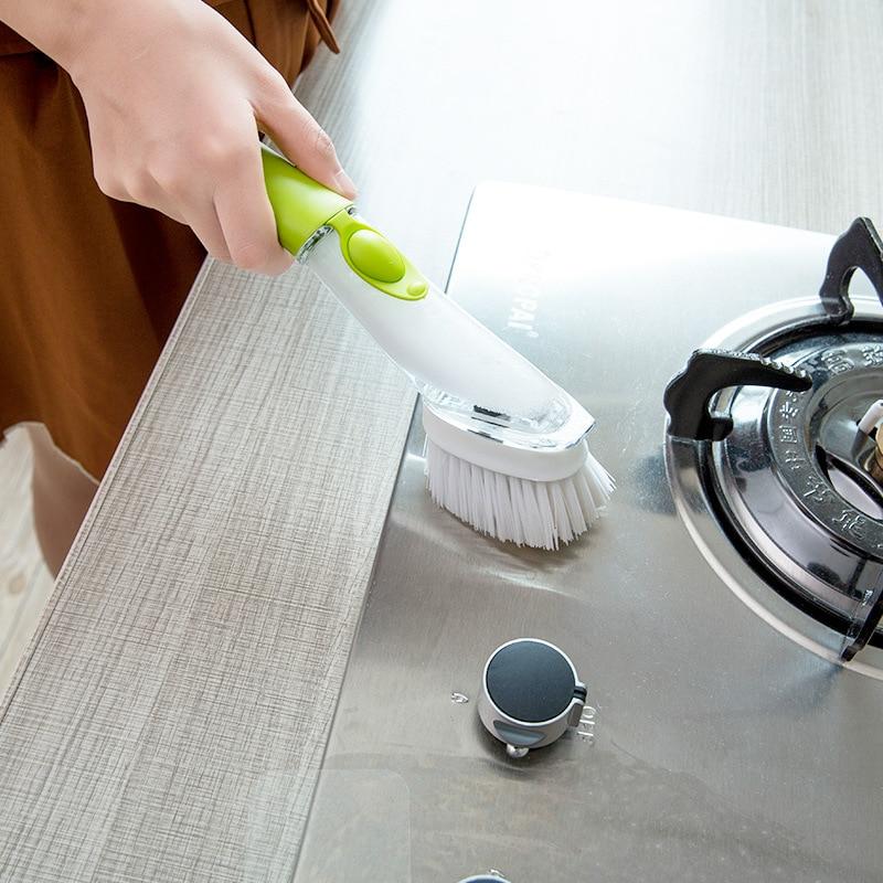 Long Handle Wash Pot Brush Liquid Brush Pot Artifact Non-stick Oil Kitchen Cleaning Brush Automatic Liquid Sponge Wash Brush enlarge
