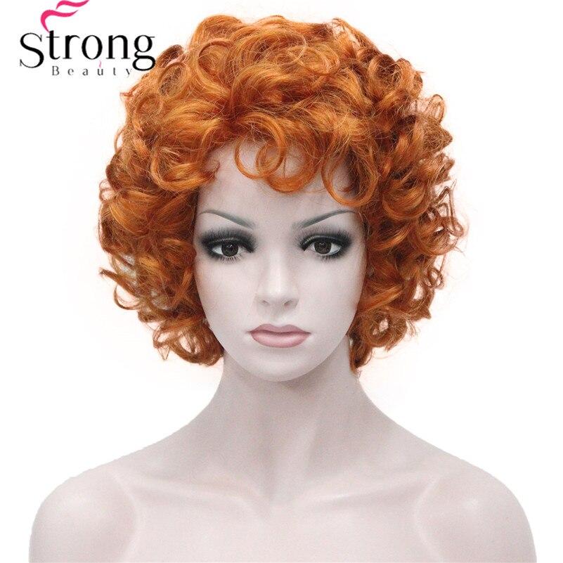 Peluca corta StrongBeauty, Tousled suave de cobre y naranja, pelucas totalmente sintéticas
