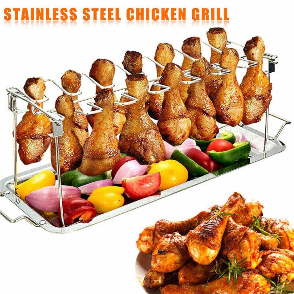 14 slots suporte para churrasco pato frango perna asa grill rack de cozinha com gotejamento pan aves assadeira frango asa rack # t20