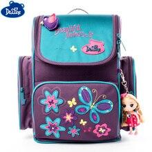 Delune la escuela de niñas bolsas corbatín Floral apliques niños impermeable ortopédicos Mochila bolsa Mochila Infantil 1-003 1-004,
