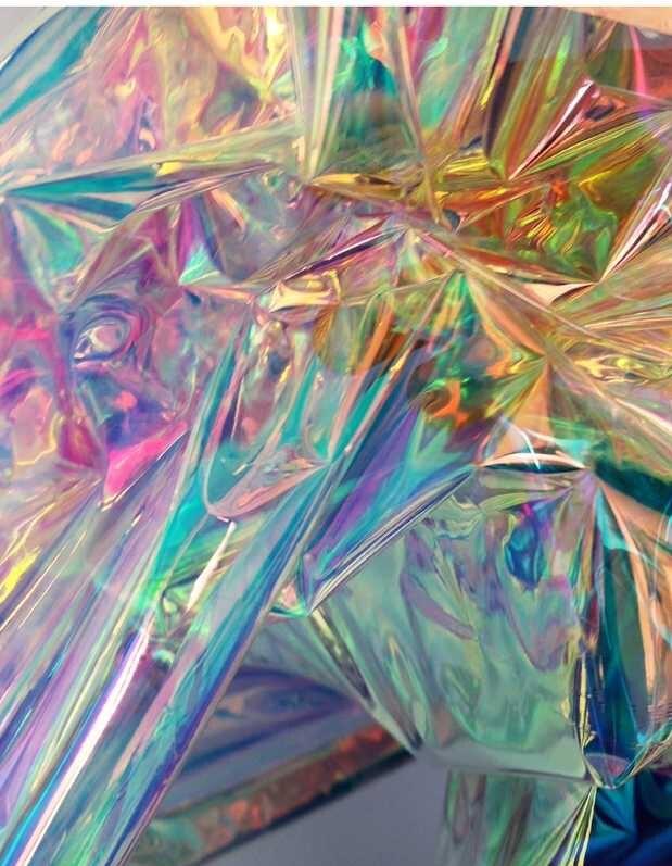 250mic TPU espejo Dichroic arcoiris iridiscente brillante Mylar Faux Fabric Film para la ropa de vestir 138cm de ancho
