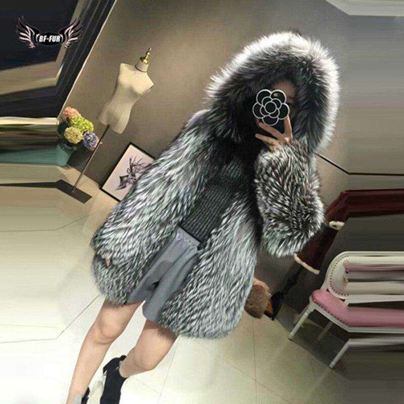 ريال فوكس الفراء معطف المرأة الشتاء أعلى درجة الطبيعية الفراء الفضة الثعلب سميكة الدافئة أنماط الموضة الإناث سلم حقيقي الفراء سترة دافئة