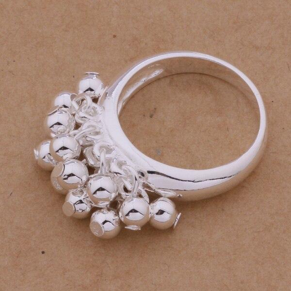 Bonito prata chapeado jóias pequena bola anel presente para amigo ar284