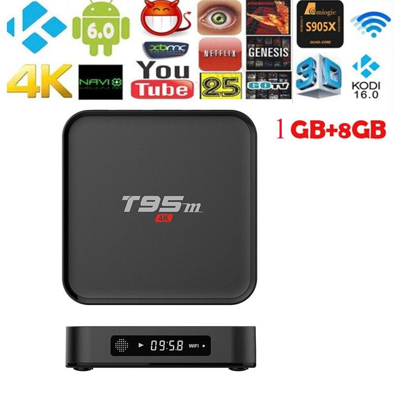 T95M TV Android 6,0 Wifi 8 GB Amlogic S805 quad core 2,4G 4 K 3D Ethernet 100 M con caja superior de control remoto
