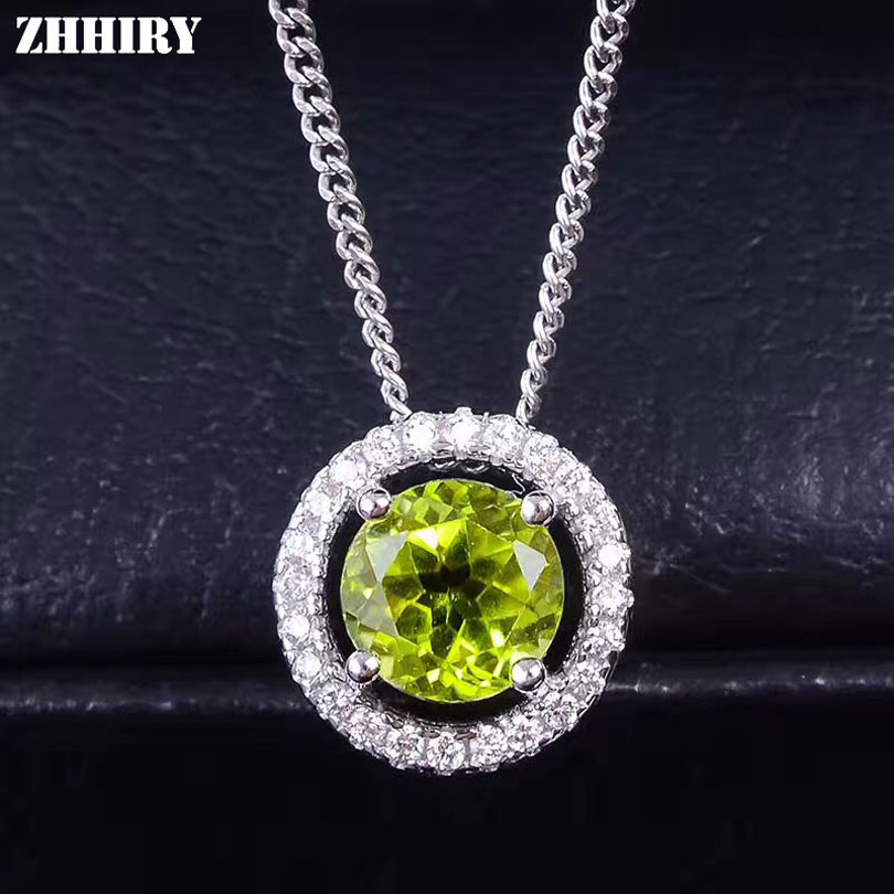ZHHIRY Women Real Natural Peridot Gemstone Solid 925 Sterling Silver Necklace Pendant For Ladies and girls Genuine Fine Jewelry zhhiry women jewelry sets natural red garnet gem stone genuine 925 sterling silver ring pendant chain