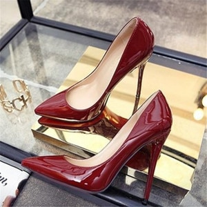 High-heeled Women's Pointed Stiletto 2019 New Shallow Mouth Sexy Super High Heel 10cm Ladies Single Women Shoes High Heel Shoes