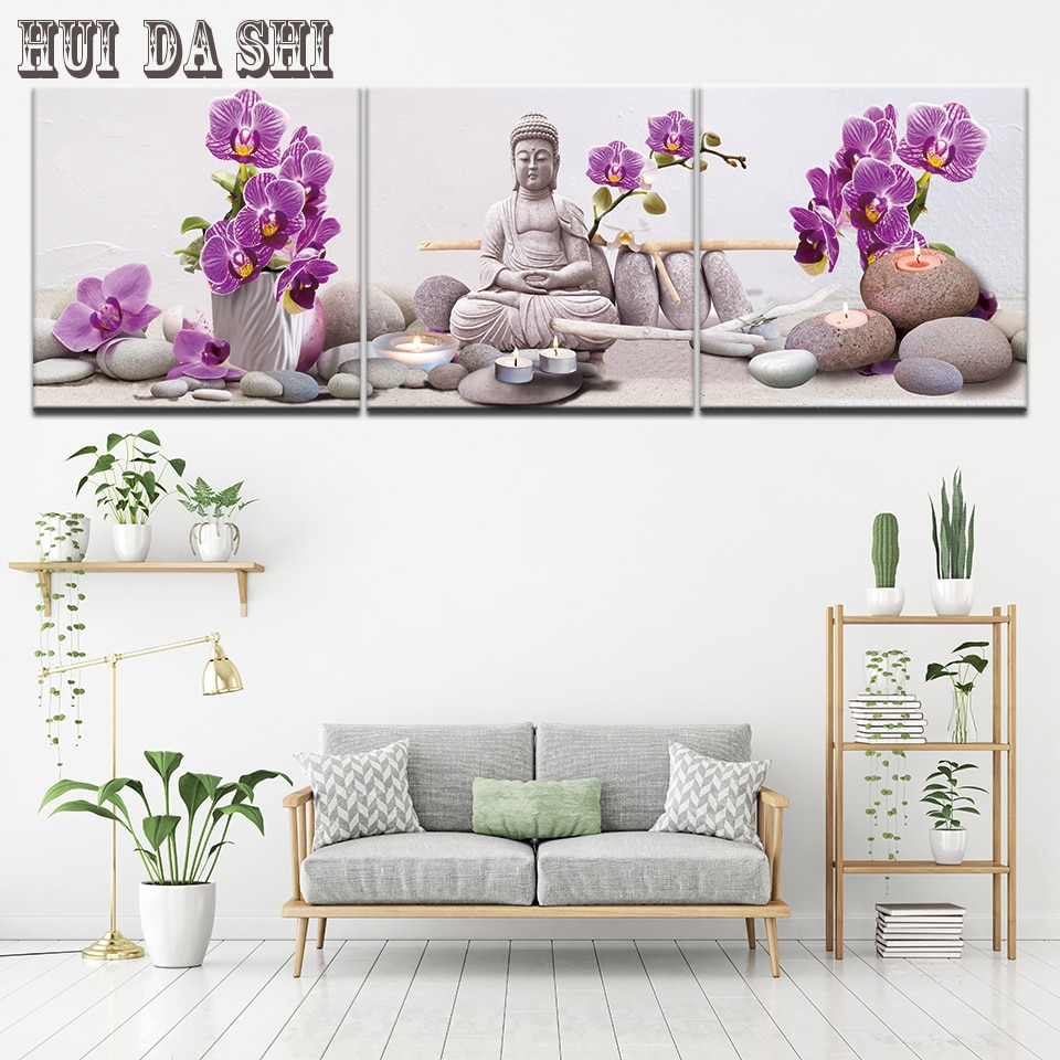 Fotos lona 3 peças Estátua De Buda Zen Orquídea roxa Quadro HD Imprime Pinturas de Arte Da Parede Da Sala Decoração de Casa Flor cartaz