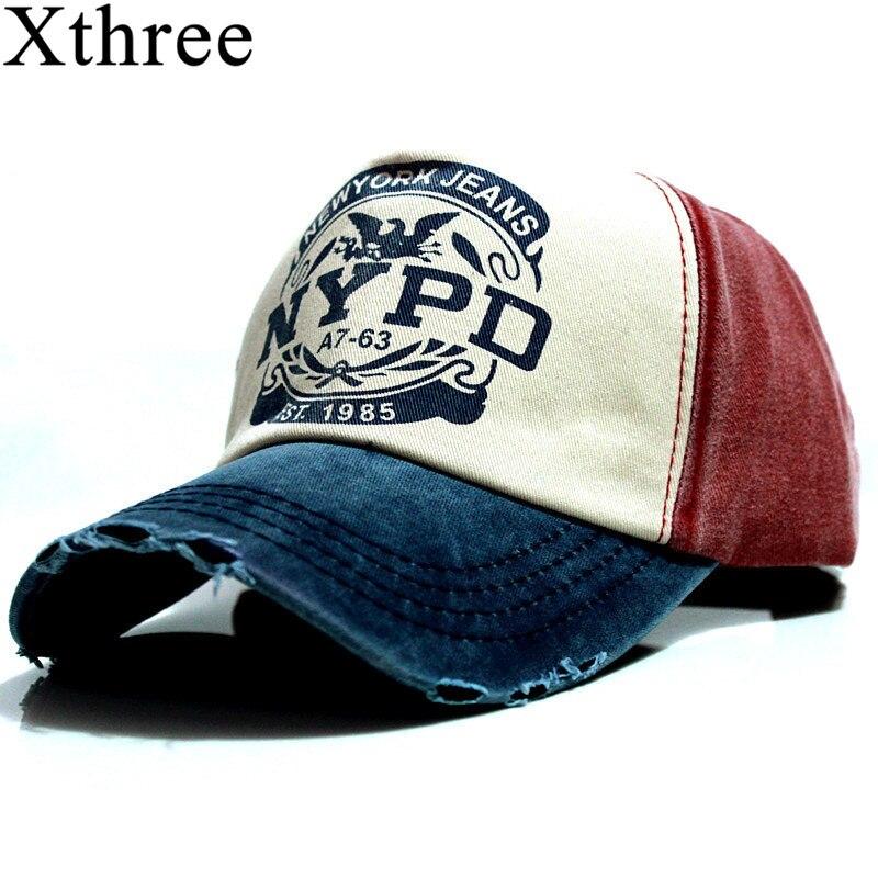 Xthree wholsale marca boné de beisebol chapéu cabido boné casual gorras 5 painel hip hop snapback chapéus de lavagem para homens unisex