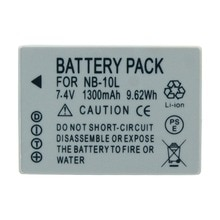 2Pack 7.4V 1300mAh NB-10L Vervangende Batterij Bateria voor Canon Camera SX40HS SX40IS SX50HS SX60HS PowerShot G1X G3X g15 G16