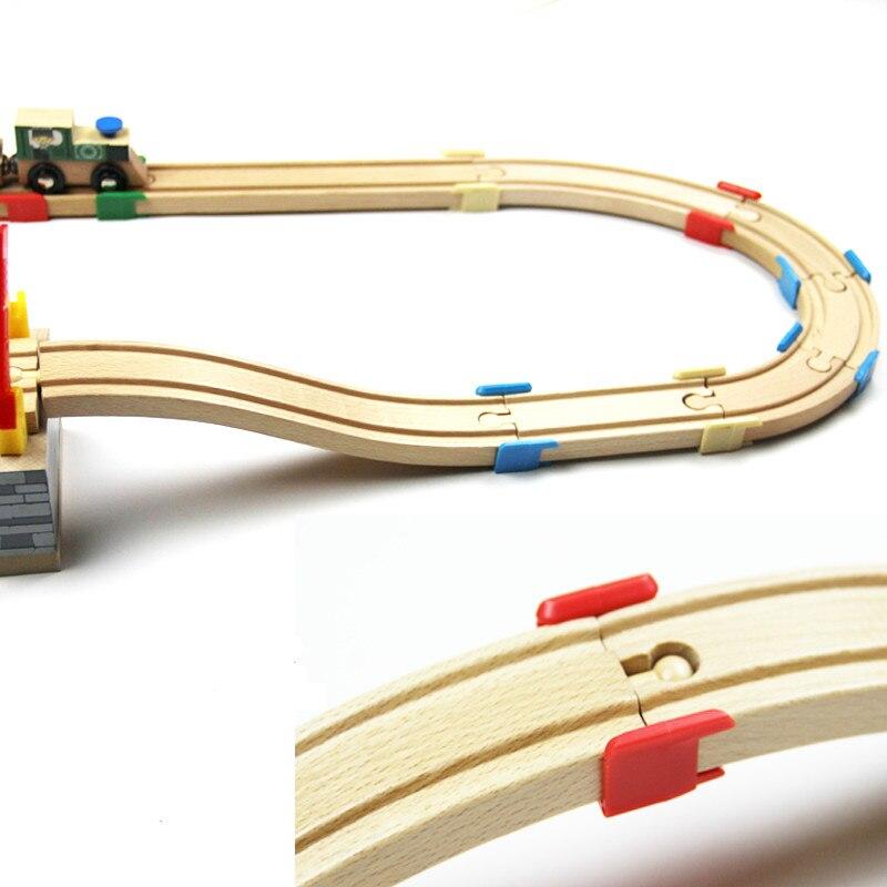 EDWONE -4 colores, soporte de plástico de pista de madera, tren ferroviario de madera, accesorios de pista Circular para Biro