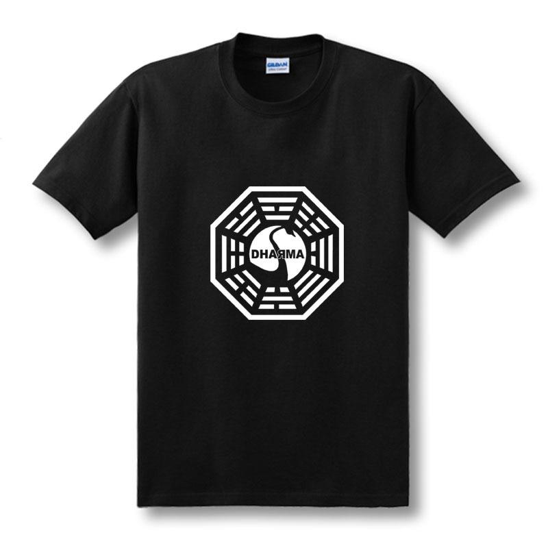 American TV Series LOST Dharma Initiative T Shirt Men Fitness Cotton Short Sleeve T-shirt Tops Tees Camisetas Masculinas XS-XXL