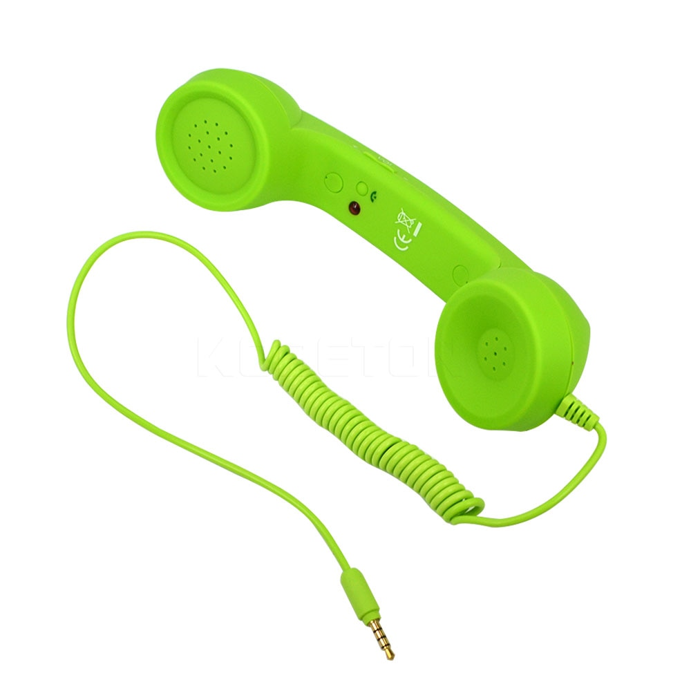 Kebidumei 3,5mm Retro teléfono auricular a prueba de radiación tono ajustable recibidor teléfono móvil auriculares con receptor de micrófono para iPhone