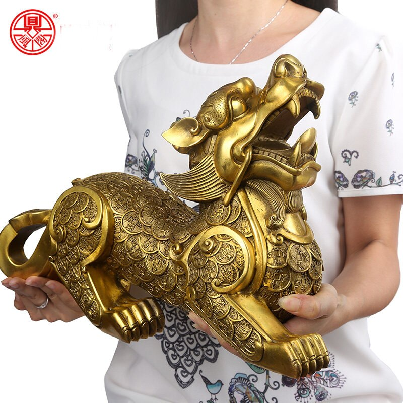 38CM enorme # tienda empresa hall vestíbulo porche antesala eficaz mascota invitar a riqueza monetaria DRAGÓN dorado PI XIU FENG SHUI estatua