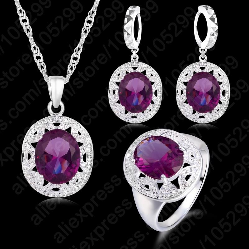 Fast Shipping Crystal Pendant Necklace Earrings Ring Cubic Zircon Trendy Party 925 Sterling Silver Jewelry Sets Women New Design