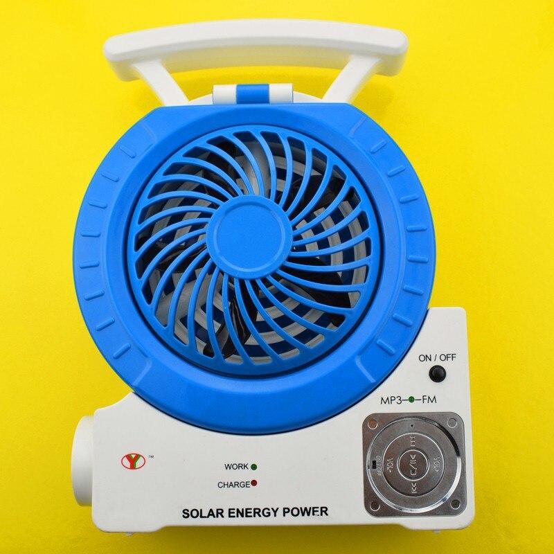 2014 TF ranura para tarjeta FM radio MP3 teléfono conectar altavoz Mesa lámpara foco 7 función solar ventilador eléctrico