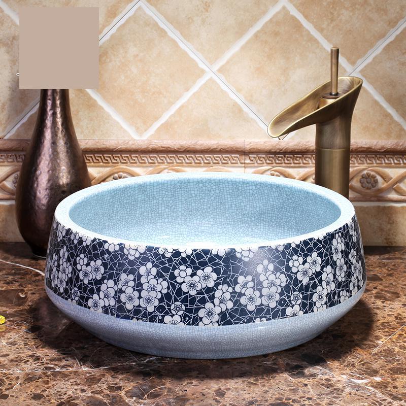 Lavabo de estilo europeo hecho a mano de China encimera del Lavabo del baño artístico Lavabo fregadero azul y blanco grieta
