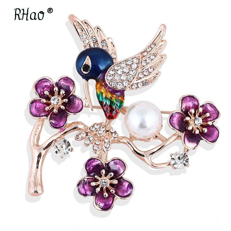 RHao 2018 New Flying Bird brooches Enamel Purple Flowers Multi Bird Crystal Brooch pins women men's suit corsage clips girl pins