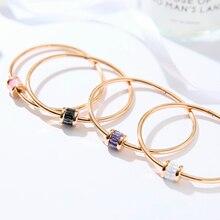 YUN RUO 2018 nouveauté tendance luxe coloré Zircon bracelet couleur or Rose titane acier bijoux femme jamais fondu Chic style