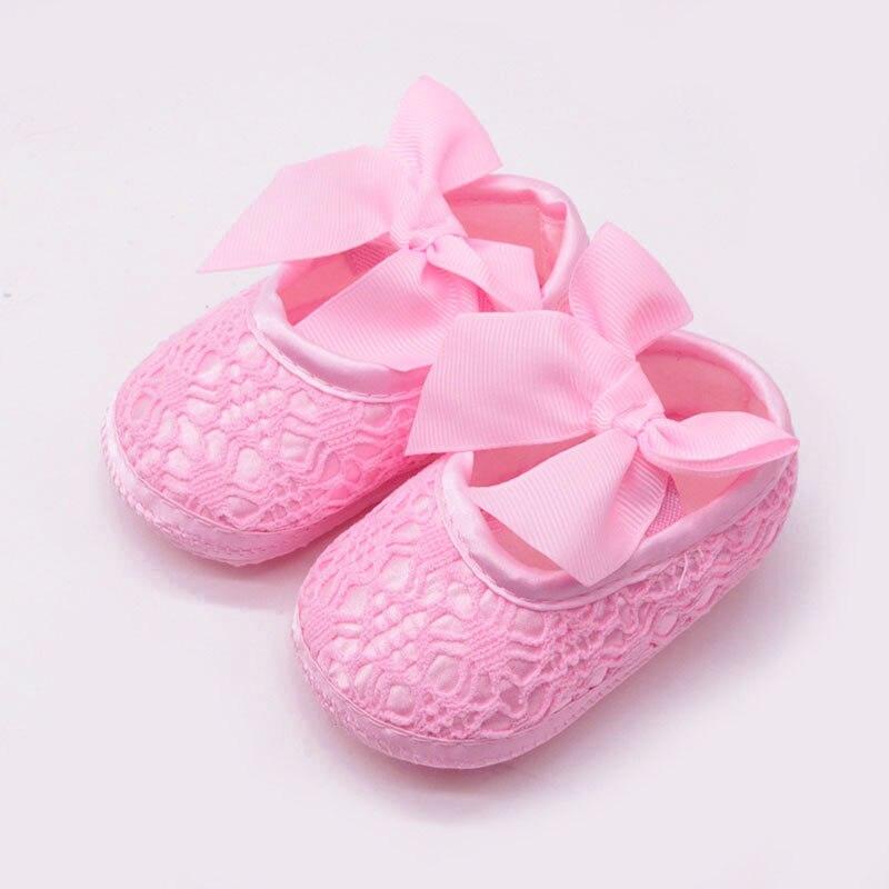 Bebê recém-nascido da criança infantil sapatos de bebê bonito laço flor arcos de algodão macio antiderrapante sapatos de princesa primeiros caminhantes sapatos da menina do bebê