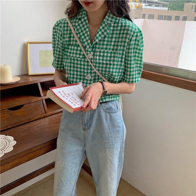Alien Kitty Vintage Chic Sweet Plaid 2019 caliente Casual moda verano Mujer Suelta todo-fósforo mangas cortas