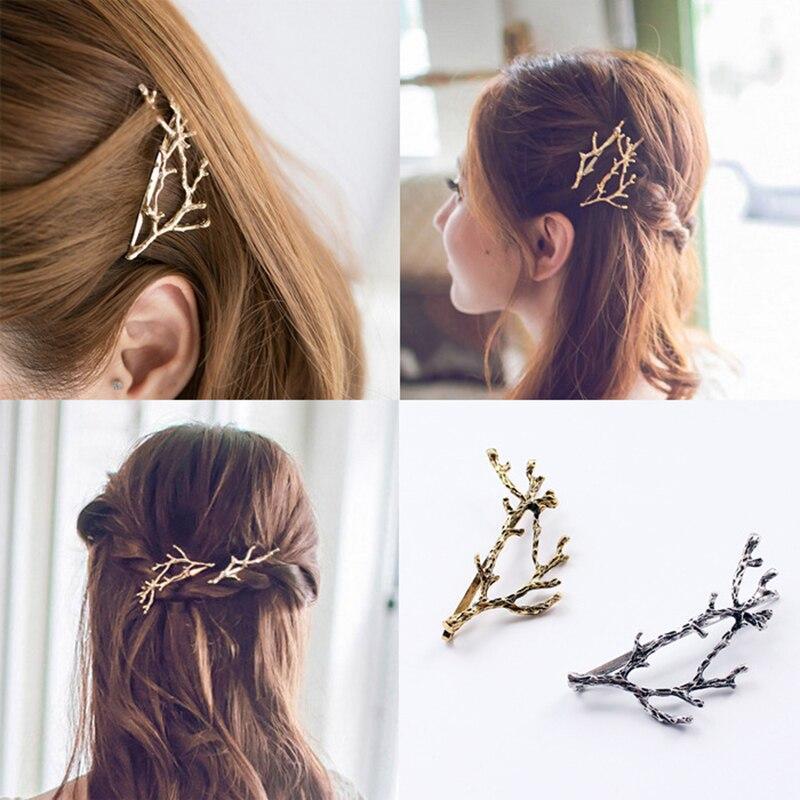 1 PC Mode Mädchen Haar Clips Frauen Metall Zweig Blätter Haarnadeln Bobby Pin Haar Clip Kopf Kleid Haar Zubehör