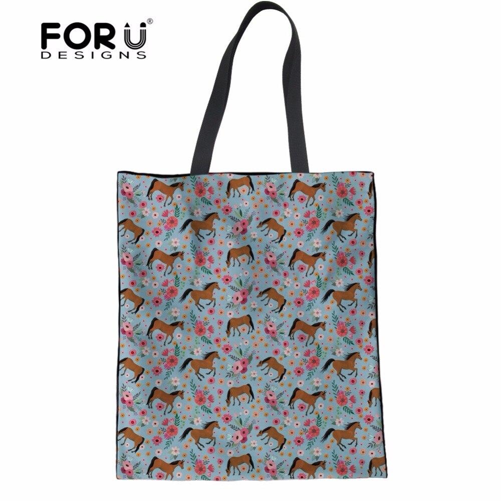 FORUDESIGNS 2018, multifunción, bolsos de mano para mujeres, diseño de moda de caballo árabe de flores, adolescentes, chicas, bolsas de mensajero casuales para mujer