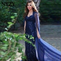nyzy m204 navy blue mermaid bling sequin party gown formal dress women elegant long mother of the bride dresses