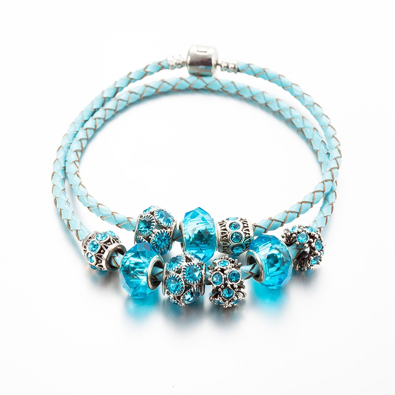 Pulseras y brazaletes pandora con cuentas de cristal azul, pulseras de cuero hechas a mano multicapa para mujer, joyería de boda personalizada