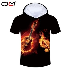 CJLM Man Fashion Large Size Hooded Tshirt 3D Red Leisure Tee Shirt Full Printed Flame Cello Musical Note Men's T-shirt