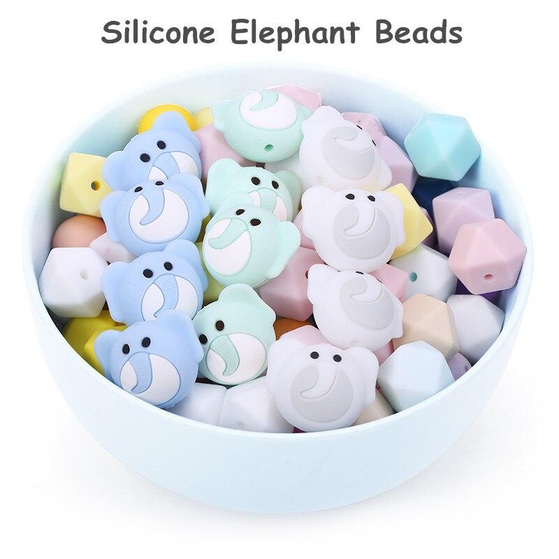 Chenkai 50 Uds cuentas de mordedor de elefante de silicona DIY Baby Shower Animal de dibujos animados mordedor chupete Dummy sensorial accesorios de juguete
