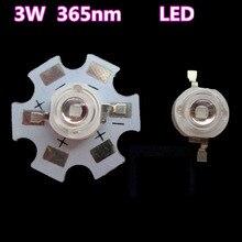 LED 3 W violet 365-370nm rayons ultraviolets perles de lampe à LED UV polymérisant la détection dagent de fluorescence violette anti-mites 20 pièces