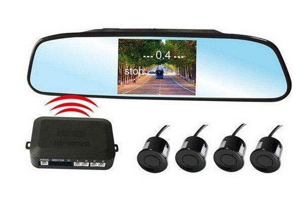4,3 digital TFT LCD mirrorscreen Drahtlose Auto Parken-sensor-unterstützungsrück Alarm System mit 4 sensoren