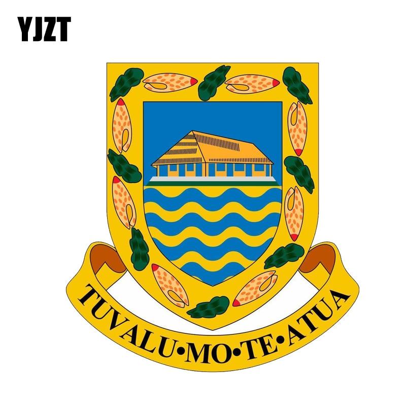 YJZT 13.1CM*13.8CM Car Accessories Tuvalu Shield Coat Of Arms Car Sticker PVC Decal 6-2119