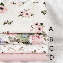 160CM * 50CM Rosa chic Floral Rosa tela de algodón costura de retazos de tela DIY tela para muñeca tilda craft tejidos acolchados