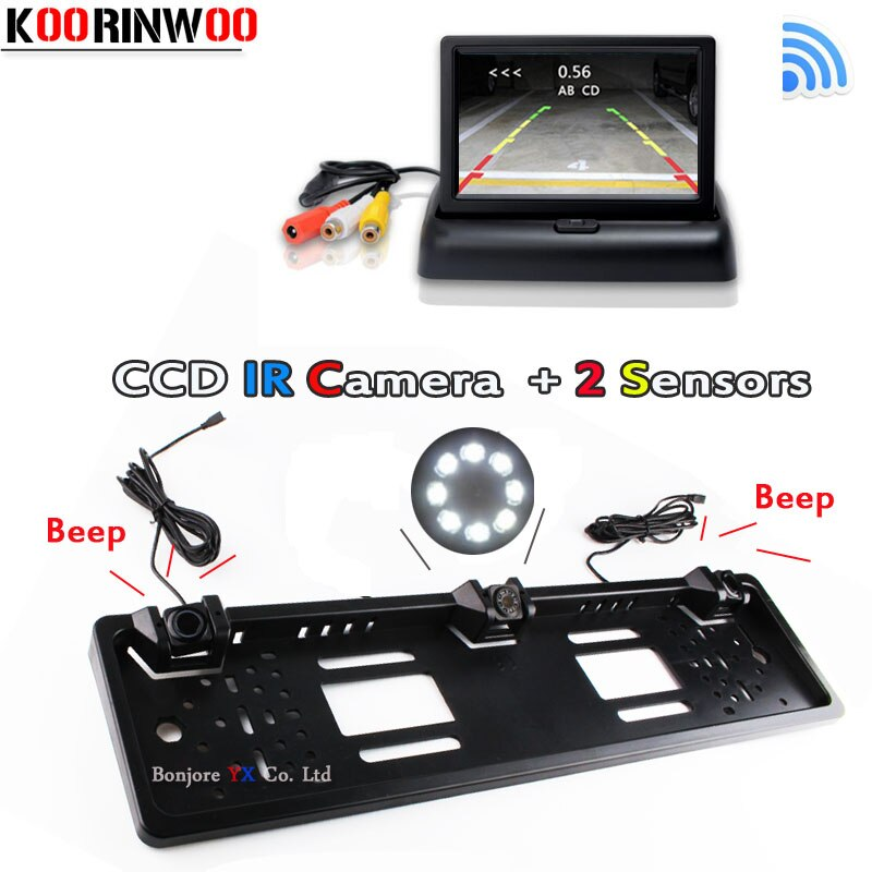 Koorinwoo inalámbrico adoptar Monitor Parktronic Marco de matrícula de coche cámara de visión trasera Sensor de aparcamiento para coches detector de celosía