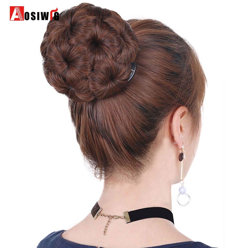 Women Chignon Hair Bun Donut Clip In Hairpiece Extensions 9 Flowers Roller Synthetic High Temperature Fiber Chignon AOSIWIG