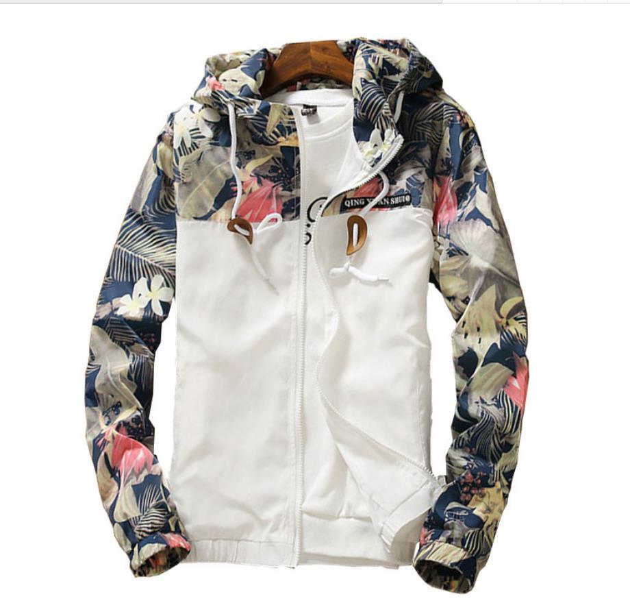 Spring autumn Womens Windbreaker Plus Size 4XL Zipper Hooded Floral Loose Jacket Basic Coat  201929