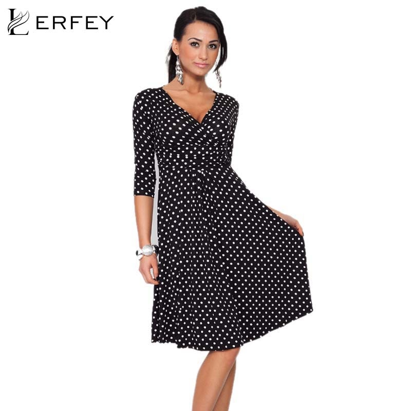 LERFEY, S-2XL, vestido de lunares para mujer, Vestidos Retro Vintage de verano, escote en V profundo, Media manga, Sexy vestido de oficina, Vestidos femeninos