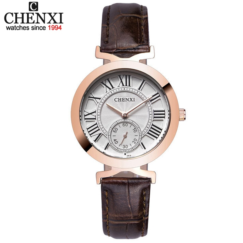 Relojes de cuarzo de CHENXI para mujer, reloj de vestir para mujer, correa de cuero, relojes de cuarzo a la moda, reloj resistente al agua, relojes Masculinos